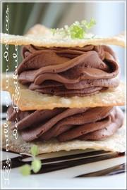 Mousse chocolat et café en étagé de wontons