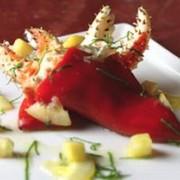 Crabe farcies aux Poivrons espagnols, miel et compote de citron et d'herbes