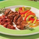 Brochette d'agneau mariné aux tomates séchées