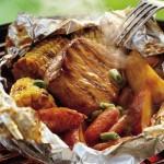 Papillotes de porc barbecue grillé au miel et au cumin