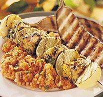 Brochettes de thon rouge au curry et à la coriandre