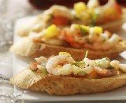 Bruschetta de crevettes et mangue