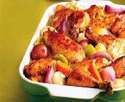 Casserole de poulet et de légumes braisés à la moutarde
