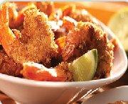 Crevettes croustillantes, sauce à la noix de coco et à la marmelade d'oranges
