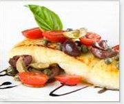 Darnes de flétan aux câpres et aux tomates italiennes