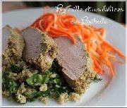 Filet de porc à la citronnelle avec son sauté de quinoa et sa salade de carottes et panais
