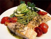 Filet de saumon rôti, linguine verde al limone