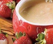 Fondue chocolat blanc et fraises