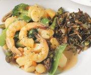 Fruits de mer et légumes verts
