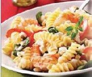Fusilis aux épinards crevettes et gingembre