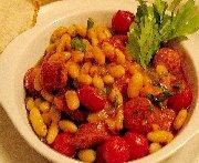 Haricots blancs, chorizo et tomates