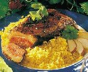 Magrets de canard grillés, sauce aux poires et à la coriandre