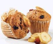 Muffins aux bananes, au son et aux canneberges