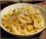 Pappardelles crémeuses au poireaux et pancetta