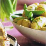 Pommes de terre et pois mange-tout à la menthe