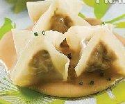 Raviolis chinois au poulet, sauce aux arachides