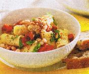 Rigatoni aux tomates cerises, aux haricots blancs et au parmesan
