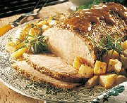 Rôti de porc grillé, sauce barbecue au whisky