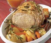 Rôti de veau aux légumes et au romarin