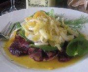 Salade chaude à l'orange sanguine, aux épinards et au fenouil