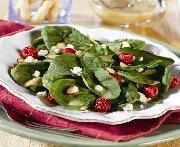 Salade d'épinards avec vinaigrette de framboises