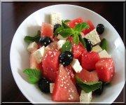 Salade estival melon d'eau fêta menthe
