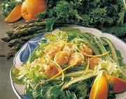 Salade de pétoncles, vinaigrette à l'orange et au gingembre