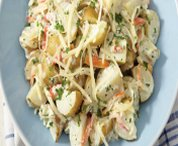 Salade tiède de pommes de terre au crabe et au fromage Suisse