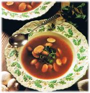 Soupe aux champignons et au cresson