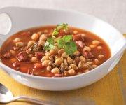 Soupe de lentilles, pois chiches et chorizo