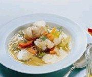 Soupe de poisson et polenta au poivron