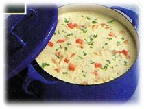 Soupe veloutée au crabe