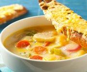 Soupe aux légumes-racines et ses croûtons au Suisse Chaliberg