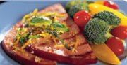 Steak de jambon mariné au basilic