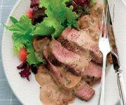 Steak poêlé sauce champignons