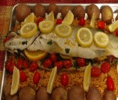 Truite grise Massawi aux amandes fumées et aux agrumes